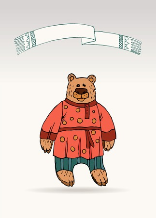 Russian bear, a national character in a suit. A symbol of Russian power, a hero of Russian fairy tales. Hand drawn sketch style on neutral background. Vector illustration. Illustration