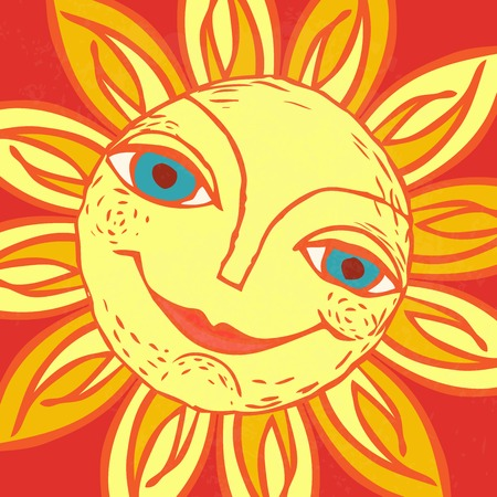 Cheerful sun for the design of summer holidays, picnics, childrens parties.
