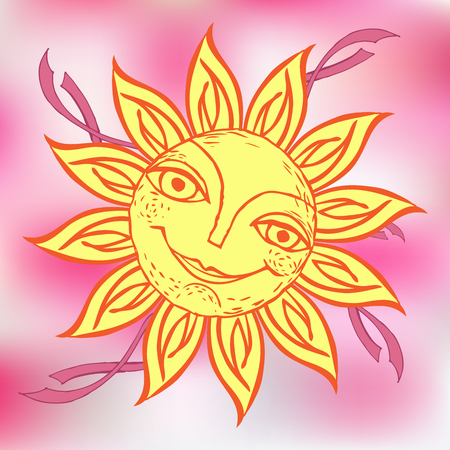 Cheerful sun for the design of summer holidays, picnics, children's parties.