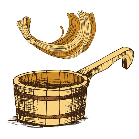 Wooden bucket and a sponge for washing, for Russian bath for body hygiene. Set of accessories for bath, sauna. Hand drawing in sketch style. Isolated object on white background. Stock Illustratie