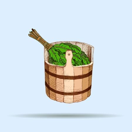 Articles de bain. Un tonneau en bois et un balai en chêne pour un sauna. Un modèle pour l'entreprise de baignade. L'endroit pour votre texte. L'ombrage de dessin manuel sur un fond neutre. Un modèle pour la conception de services de bain, la publicité de produits de bain. Image vectorielle, Eps 10