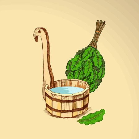 Bathing goods. A wooden barrel and an oak broom for a sauna. A template for the bathing company. The place for your text. The manual drawing shading on a neutral background. A template for design of bathing services, advertizing of bathing goods. Vector image, Eps 10 Çizim