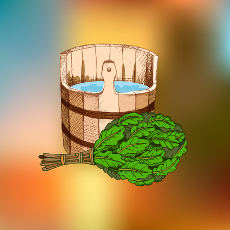 Bathing goods. A wooden barrel and an oak broom for a sauna. A template for the bathing company. The place for your text. The manual drawing shading on an indistinct background. A template for design of bathing services, advertizing of bathing goods. Vector image, Eps 10. Çizim