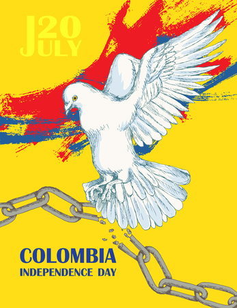Colombia's independence day. July 20. National Patriotic holiday of liberation in Latin America. Hand drawing hatching. Background with Colombian tricolor. Vector image