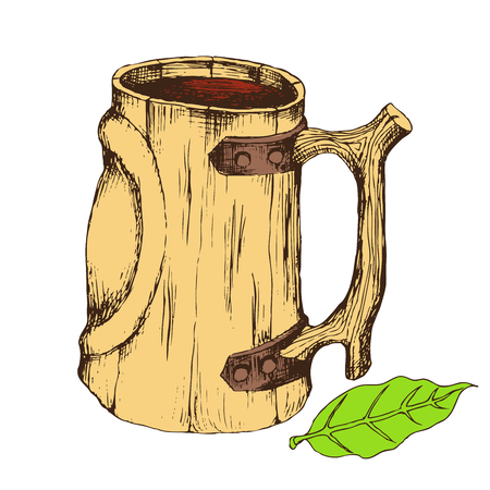 Wooden mug for drinks. Isolated object on a white background for the design of advertising beer store, dairy products, bath, sauna. Hand drawing in sketch style. Vector illustration. EPS 10. Illustration