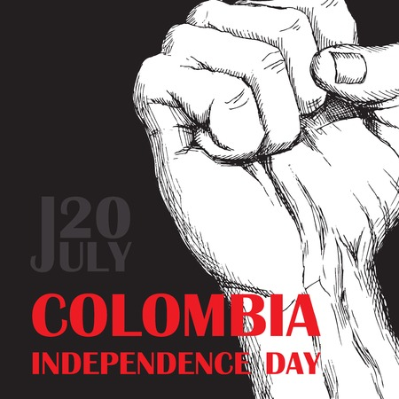 Colombia's independence day. July 20. National Patriotic holiday of liberation in Latin America. The clenched fist of the person, symbol of fight for release. Hand drawing hatching. Background with Colombian tricolor. Vector image