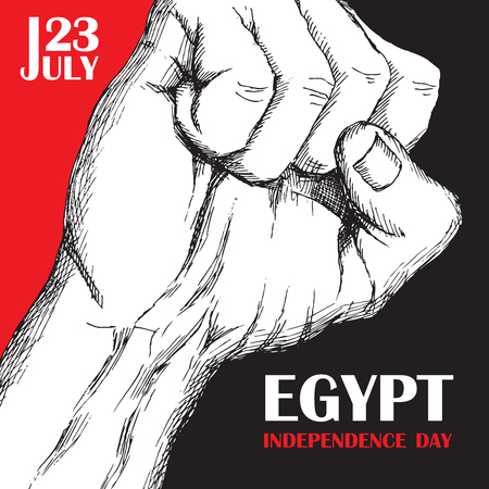 Independence day of Egypt. July 23rd. National Patriotic holiday of liberation in North Africa. Hand-drawn shading. Background with Egyptian tricolor. Vector image