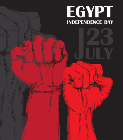 Independence day of Egypt. July 23rd. National Patriotic holiday of liberation in North Africa. Clenched human fist, symbol of the struggle for liberation. Hand-drawn shading. Background with Egyptian tricolor. Vector image