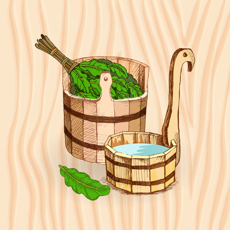 Bathing goods. A wooden barrel and an oak broom for a sauna. A template for the bathing company. The place for your text. The manual drawing shading against the background of wooden texture. A template for design of bathing services, advertising of bathing goods. Vector image Çizim