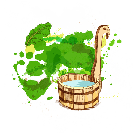Bathing goods. A wooden barrel and for a sauna. A template for the bathing company. The place for your text. The manual drawing shading against the background of a green watercolor blot. A template for design of bathing services, advertising of bathing goods. Vector image Çizim