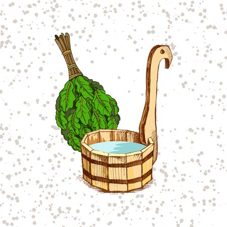 Badartikelen. Een houten ton en een eiken bezem voor een sauna. Een sjabloon voor het badbedrijf. De plek voor uw tekst. De handmatige tekening arcering op een granzhevy achtergrond. Een sjabloon voor het ontwerpen van baddiensten, reclame voor badartikelen.