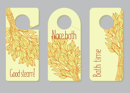 A set of door hangers, labels for advance of bathing goods. Advertizing of products for a sauna, bathing services. The place for your text. Window dressing in shop for a sauna. Inscriptions Good steam, bath time, nice bath. Vector illustration