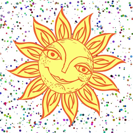 Cheerful sun for the design of summer holidays, picnics, childrens parties. Great weather. Hand-drawn sketch style on a background of color graininess. Vector illustration.