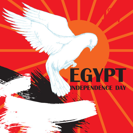 Day revolution in Egypt. July 23rd. National independence day in Africa. White dove in flight for the decoration of Patriotic events with the colors of the flag of Egypt. The Flag Of Egypt. Hand drawing in sketch style on white background. Vector illustration. a poster template for your labels Illustration
