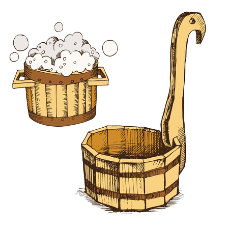 Wooden basin, barrel with soap foam, wooden bucket for Russian bath for body hygiene. Set of accessories for bath, sauna. Hand drawing in sketch style. Isolated object on white background