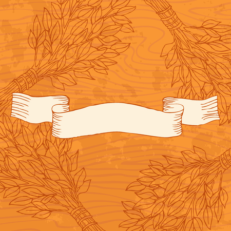 Birch broom for the bath on a wooden background. Design template banners, cards, cards for sauna, bath. Place for text. Hand drawing in sketch style. Vector illustration. EPS 10
