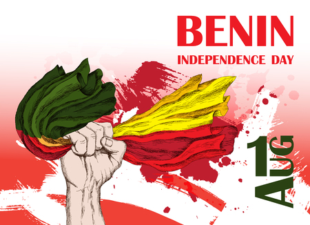 Independence Day of the state of Benin. August 1. A patriotic national holiday in the African country. A hand of the person with a flag Benin. The manual drawing in style the sketch. Vector illustration