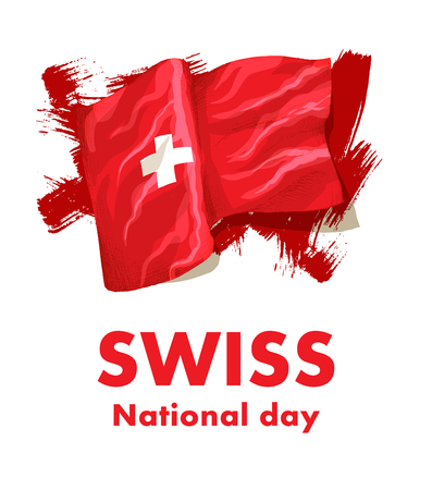 1st  August. Swiss National Day. Vector illustration of national holiday with Swiss flag and Patriotic elements. Creative concept for posters, greetings, banners, backgrounds and printing.