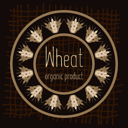 Logo with grain ears for the food, grain company. The label for registration of goods at a fair, pastries, bakeries. Organic, natural product. The stylized ears of wheat, a rye, oats for beer. Vector illustration. Illustration