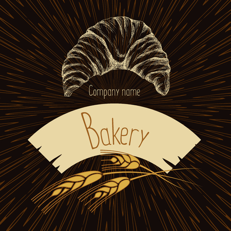 Logo with grain ears for the food, grain company. The label for registration of goods at a fair, pastries, bakeries. The stylized ears of wheat, a rye, oats for beer. Vector illustration.