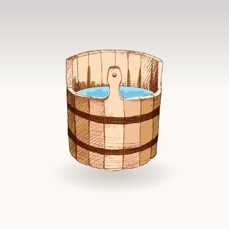 Picture for the Russian bath. A wooden barrel for a sauna. A template for the bathing company. The place for your text. The manual drawing shading on a neutral background. A template for design of bathing services, advertizing of bathing goods. Vector image, Eps 10