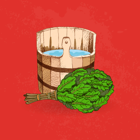 Bathing goods. A wooden barrel and an oak broom for a sauna. A template for the bathing company. The place for your text. The manual drawing shading on a red background. A template for design of bathing services, advertizing of bathing goods. Vector image, Eps 10 Çizim