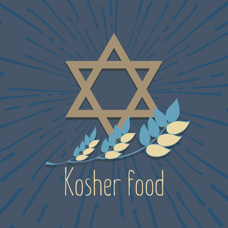 Logo with grain ears for the food, grain company. Design of the label for kosher food, an organic product. The stylized ears of wheat, a rye, oats for beer. Vector illustration