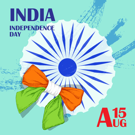 Independence Day of India. August 15. Circle Ashoka. Indian tricolor.ndian tricolor