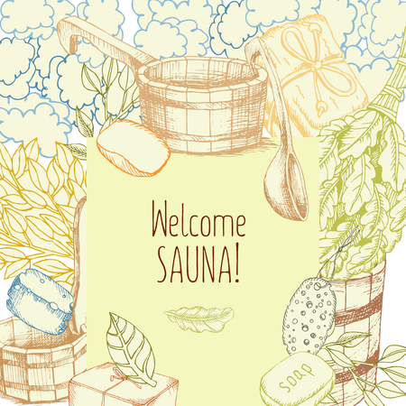 Set of Bath Accessories. Banner design template with drawings for bath and sauna. Bath accessories to decorate leaflets. Buckets, brooms, Soaps for relaxing in the sauna. Square poster. Vector. The inscription welcome to the sauna.