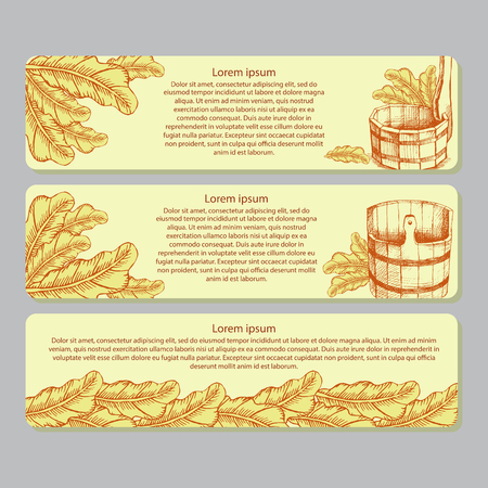 A set of horizontal rectangular labels for marking of bathing goods. Advertizing of products for a sauna, bathing services. The place for your text. Window dressing in shop for a sauna. Vector illustration.