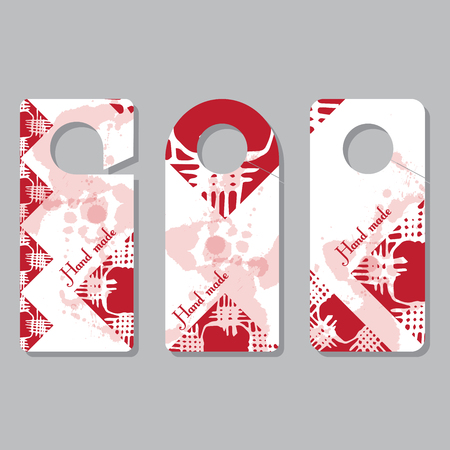 Set doorhangers. Background picture, pattern of doodles. Place for your text. Creative concept by hand maid. Design of events of handmasters, exhibitions, fairs
