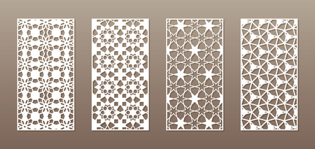 See-through silhouette with Arabic pattern, Muslim girih geometric pattern. Drawing suitable for background, invitation design, badges, laser cutting engraving stencil, wood and metal products. 4 vector panels