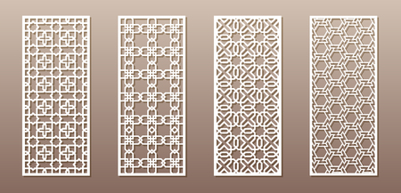 See-through silhouette with Arabic pattern, Muslim girih geometric pattern. Drawing suitable for background, invitation design, badges, laser cutting engraving stencil, wood and metal products. 4 vect