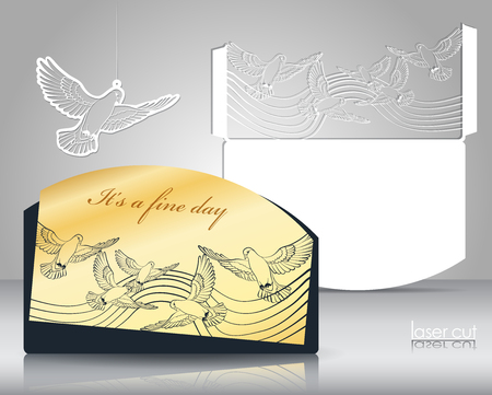 Laser cut pattern. Stylized flock of birds in the sky. Laser cutting for Wedding invitations, covers, cards, napkins. Laser cuttable silhouette on paper, wood, plastic. Elements of gold stamping.