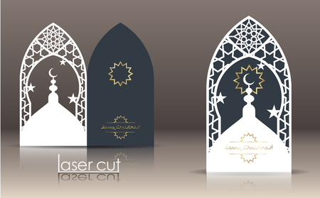 3d postcard layout with Islamic Oriental pattern for laser cutting paper. Indian heritage, Arabesque, Persian motif, Vintage lace element.  Decorative frame with cut-outs of borders and black card. Paper cut invitation or greeting card design template. Vector illustration.