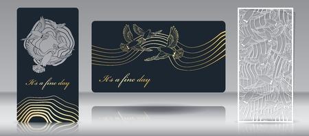 Silhouette ajourée pour la découpe laser. Grâce à un modèle pour enveloppe cadeau et doublure. Enveloppe festive et invitation ou carte de voeux avec un motif d'oiseaux en vol. Illustration vectorielle.