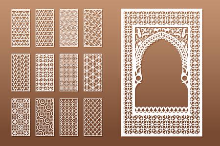 Un ensemble de gabarits de fenêtres arabes et de 12 panneaux de confidentialité pour la découpe laser. Conception dans un style traditionnel oriental. Grâce à la découpe de papier, vinyle, contreplaqué, bois.