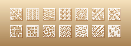 12 laser patterns for room walls in the Arabic style. Traditional oriental ornament in a rectangle for the design of a screen, privacy panels, a fence. Laser cutting of paper, vinyl, plywood, wood