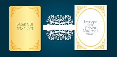 Laser template of openwork envelope, cards. Through cutting of a flower, vegetable pattern from paper, a cardboard. Frame with place for a festive text. Lacy style wedding printing. You can apply for birthday, anniversary, Valentines Day, romantic parties. Stock fotó