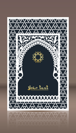 Pattern of Arabic window for laser cutting. Vintage frame design, greeting card, cover in oriental traditional style. Brochure, album, nameplate, label templates. Stok Fotoğraf - 118118313