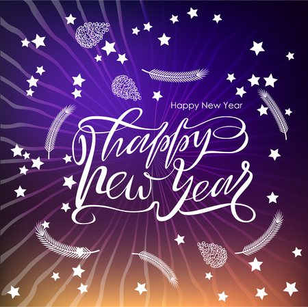 Happy new year text design for laser cutting. Vector logo with christmas elements. Usable as a banner, greeting card, window decoration, shop windows for the winter holidays.