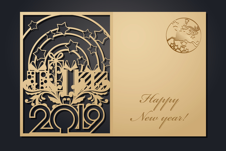 Template Christmas cards for laser cutting. Through silhouette New Year's picture. vector illustration