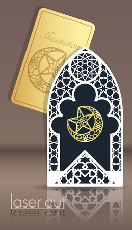 Design greeting cards for the Muslim holiday. Laser cut Arabian girih pattern, frame 3d. Woven geometry. Carved hollow cover and a gold card embossed with the symbol of Islam.