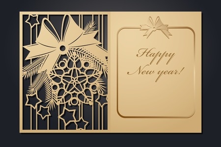 Template Christmas cards for laser cutting. Through silhouette New Years picture. vector illustration.