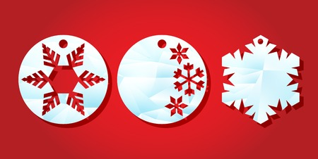 Christmas sale. Template labels for laser cutting. Round tag with a through New Years pattern. vector illustration