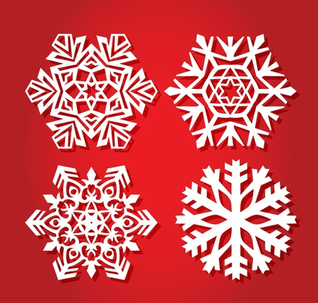 New Year, Christmas 2019. A set of snowflakes for laser cutting. Openwork curve New Years decoration. vector illustration 向量圖像