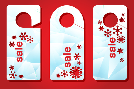 Christmas sale. Template labels for laser cutting. Advertizing dorkhenger with through New Years drawing. vector illustration 向量圖像