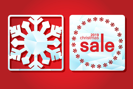 Christmas sale. Template labels for laser cutting. Promotional tag with a through New Years pattern. vector illustration