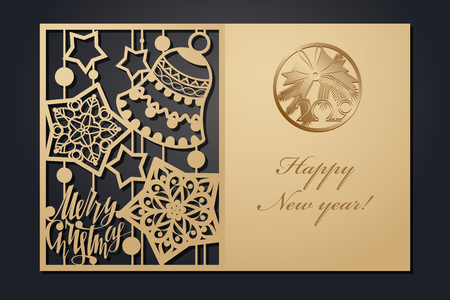 Template Christmas cards for laser cutting. Through silhouette New Years picture. vector illustration 向量圖像