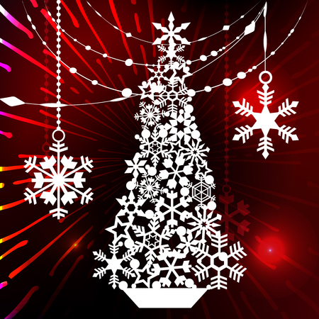 New year and Christmas. Design elements for laser cutting. Decoration for winter window, showcase, postcard, invitation. Glowing background. vector illustration 向量圖像